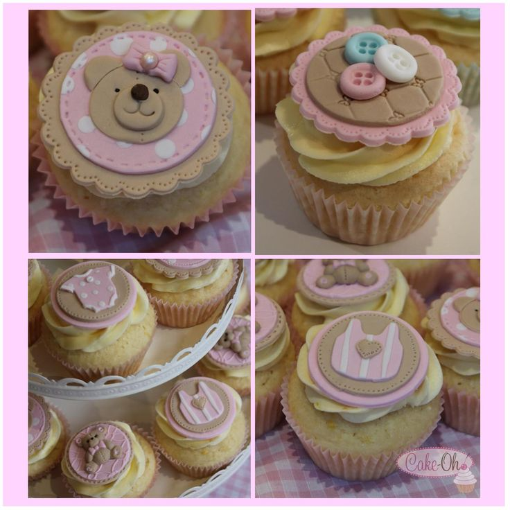 Baby Girl Cupcakes - teddies and buttons are perfect for a baby shower or the arrival of a gorgeous baby girl.