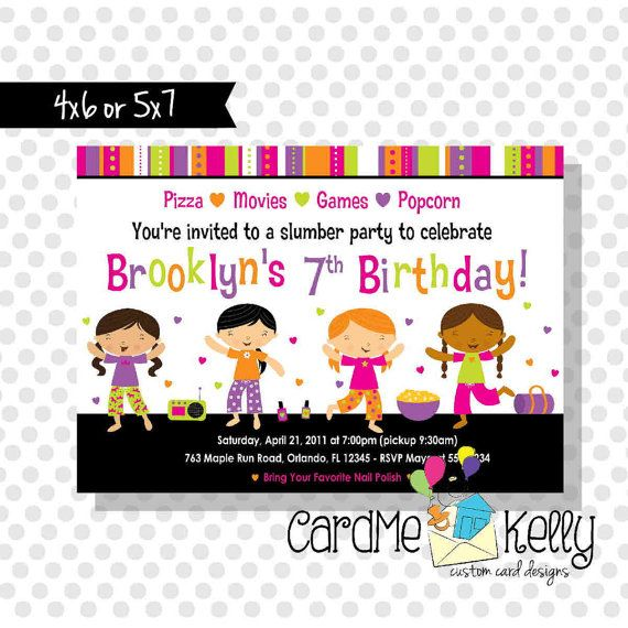 Printable Sleepover Girls Slumber Party Invitation by CardMeKelly