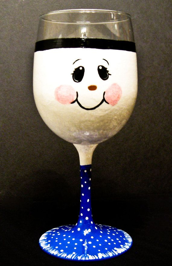 Hand Painted Snowman Wine Glasses | Hand Painted Snowman Wine Glass by Allthatglass1 on Etsy