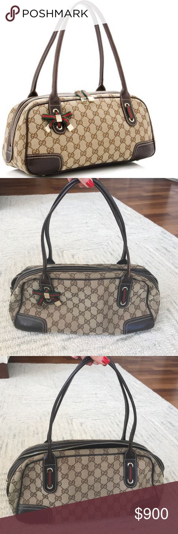 """Gucci Princy Boston Handbag This authentic classic Gucci Princy Boston Bag is in excellent condition. It is made from signature brown GG canvas trimmed in tonal leather and accented with small web stripes and gold-tone hardware.  Medium Width 13.5"""" Height 7.0"""" Depth 5.25"""" Handle Drop 7.5"""" Gucci Bags"""