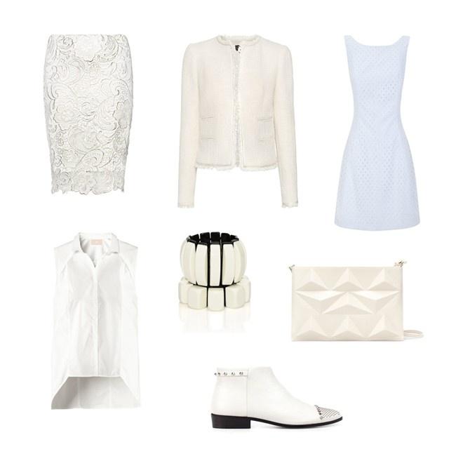 Los 'total looks' a falta de color o de color blanco, también serán tendencia esta primavera 2012. Falda de encaje (Mango), chaqueta de tweed (Mango), blusa asimétrica sin mangas (Mango), botines y clutch (Zara) y vestido con escote en la espalda (Blanco). #look #outfit #springsummer2012