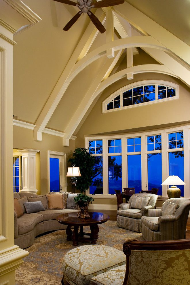 Lovely cathedral ceiling beams ideas in family room for Cathedral ceiling beams