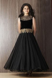 Show details for Designer black party gown