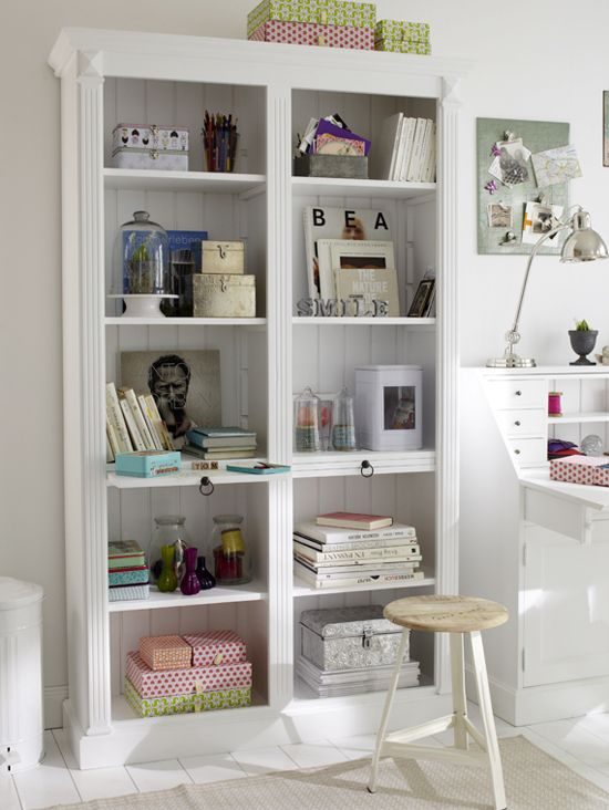 Could probably DIY trim like this on an existing bookcase (and bead board  inside).