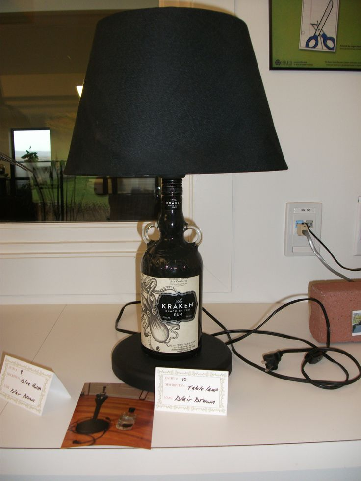 Lamp made from rum bottle. Entry submitted by Blair Brown