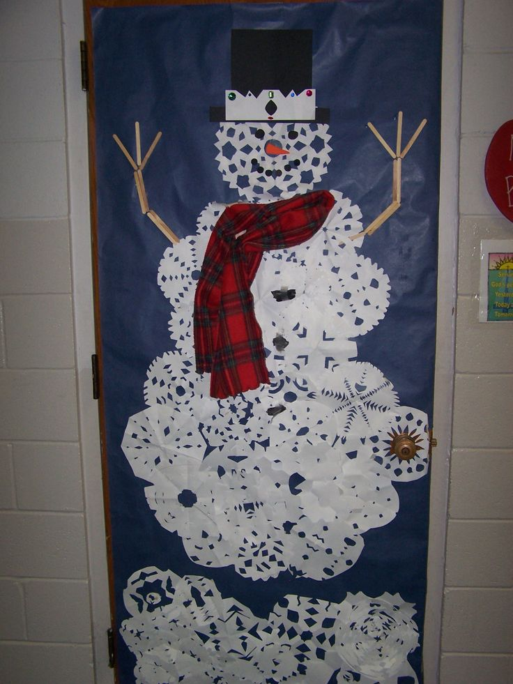 Diy snowman classroom door decor for winter christmas for Door decorations for christmas