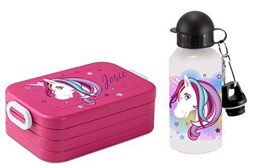 Lunchbox Set - Brotdose und Alu-Trinkflasche mit eigenem Namen (kann bei der Bestellung angegeben werden). Jetzt im Angebot! 🦄