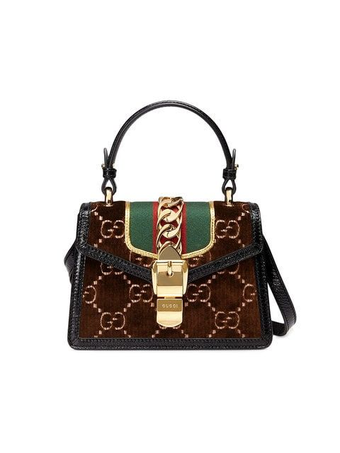 58e4668d7e1 Gucci Sylvie GG velvet mini bag