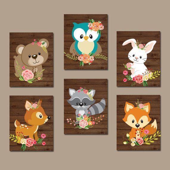 GIRL Woodland Nursery Decor, Flower Girl WOODLAND Animal Nursery Wall Art Set of 6 TRMdesign   – Ideas de manualidades para la escuela