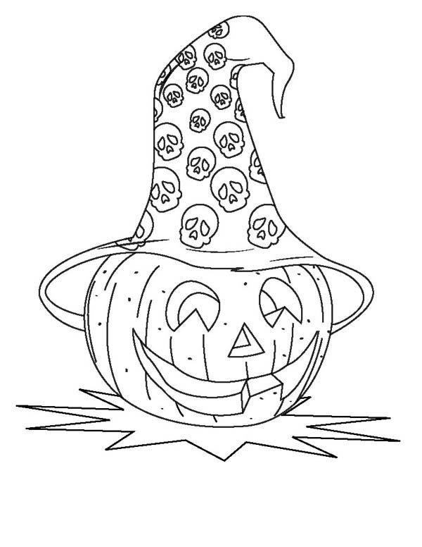 Тыквы, Хэллоуин тыквы с черепом Hat раскраски страницу: Хэллоуин тыквы шлема черепа раскраски PageFull Размер изображения