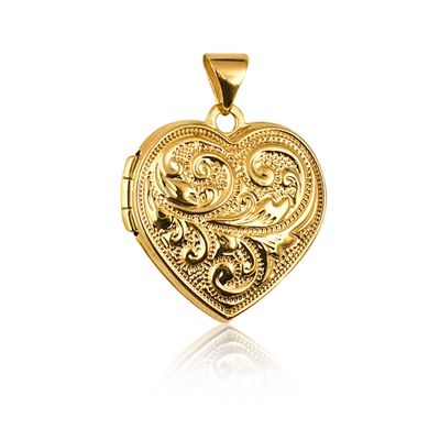 Locket - HEART FANCY SCROLL - 9ct Yellow, Rose or White Gold