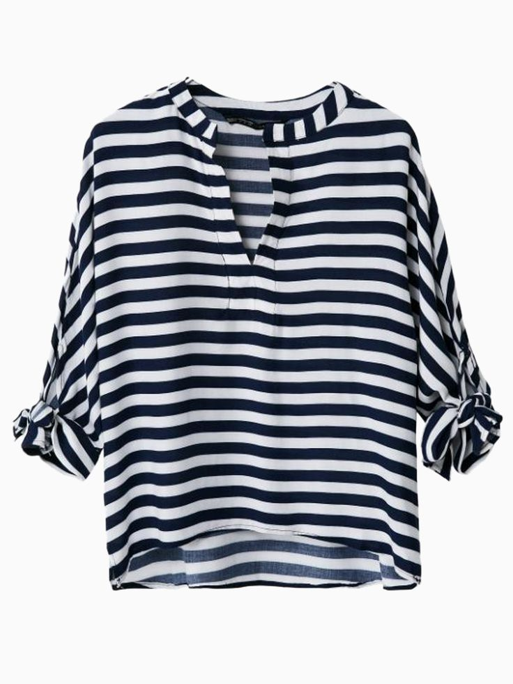 Stripe V-neck Blouse With Bow Sleeve   Choies: