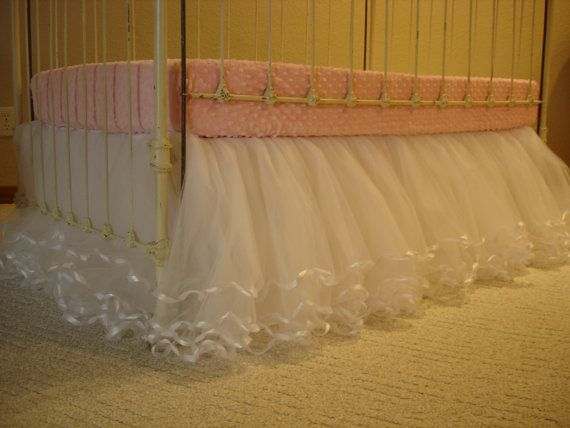 White Tulle Crib Skirt with Ribbon Edges/Lined by Ilovemyblankie