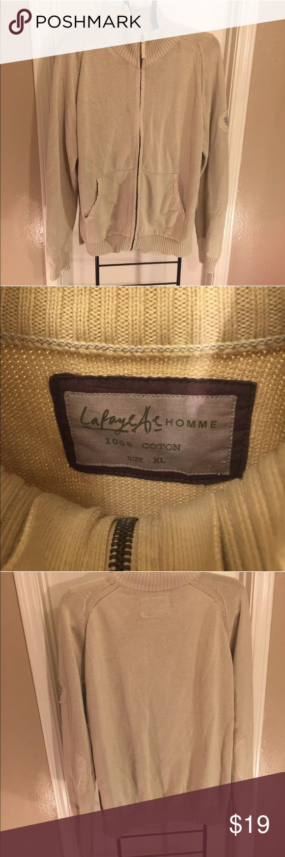 """Lafayette Homme Beige Zip Front Sweater Size XL Pre-Owned Lafayette Homme Beige Zip Front Sweater Size XL.  Its in good condition!  Minimal wear visible. No rips or holes. Material: 100% Cotton.  Measurements: length 27"""" x sleeve 31""""x arm pit to arm pit 25"""".   Please review photos carefully before purchasing and message me with any questions. Smoke and pet free environment. Lafayette Homme Sweaters Zip Up"""
