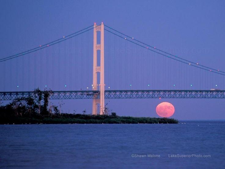 Mackinaw Bridge in the moonlight