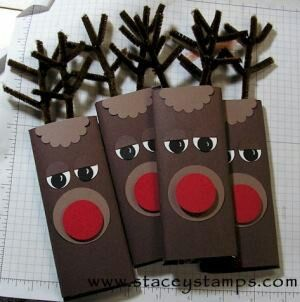 Perfect gift wrapping idea for large chocolate bars.  Use them personalized for table settings for a really festive look.
