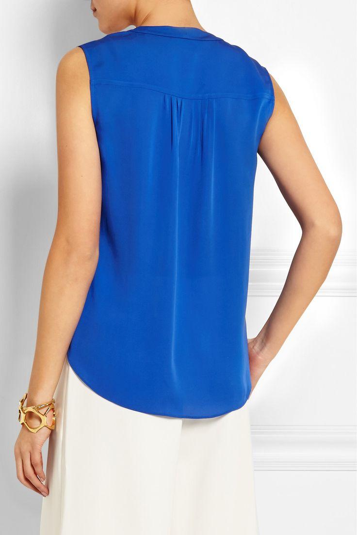 Diane von Furstenberg | Goldie chiffon-paneled silk-georgette top | NET-A