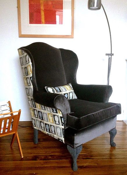 Reupholstered Vintage Wing Back Chair In Graphite Grey
