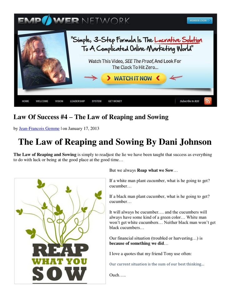law-of-success-4-the-law-of-reaping-and-sowing-by-dani-johnson by Jean-Francois Gemme via Slideshare