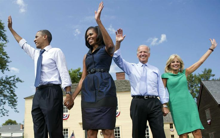 President Barack Obama waves alongside First Lady Michelle Obama, Vice President Joe Biden, and his wife, Jill Biden, after the conclusion of a campaign event at Strawbery Banke Field in Portsmouth, N.H., Sept. 7.