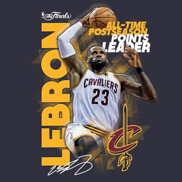 LeBron James Cleveland Cavaliers Fanatics Branded 2017 NBA All-Time Postseason Points Leader T-Shirt - Navy