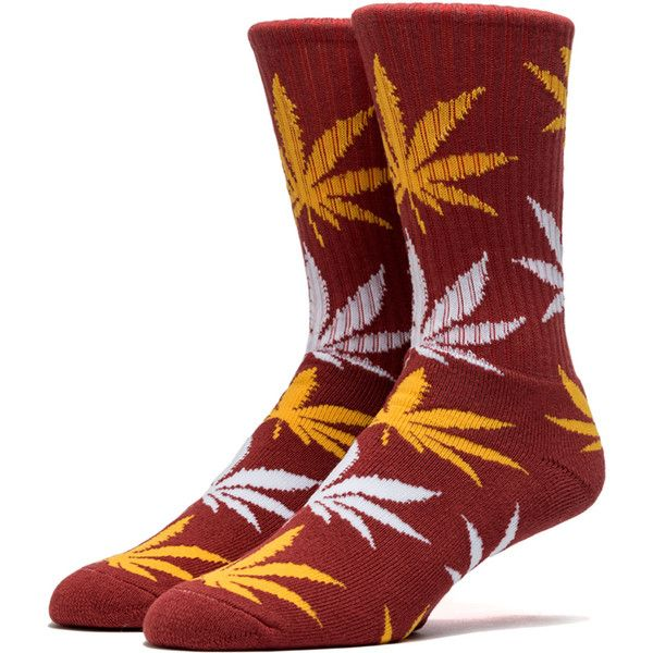 HUF The Plantlife Crew Socks in Burgundy, Gold & White ($8.95) ❤ liked on Polyvore featuring men's fashion, men's clothing, men's socks, burgundy multi, mens white crew socks, mens burgundy socks, mens white socks, mens patterned socks and mens gold toe socks