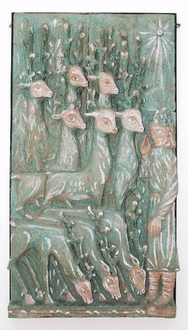 Mural by famous Szentendre artist Margit Kovacs, famed for her original porcelain and statuary.
