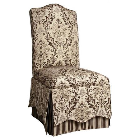 Upholstered Parsons Chair With A Damask Motif And Striped Skirt.