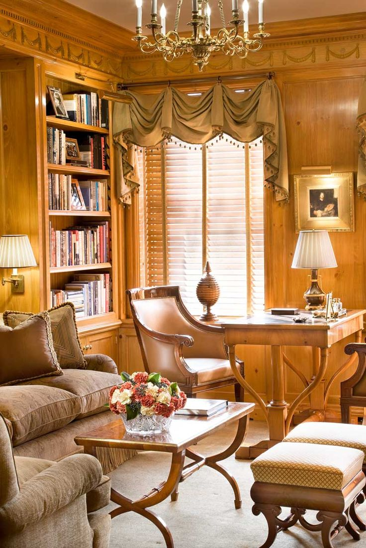 Yellow home library and office, lovely writing desk, John B. Murray Architect