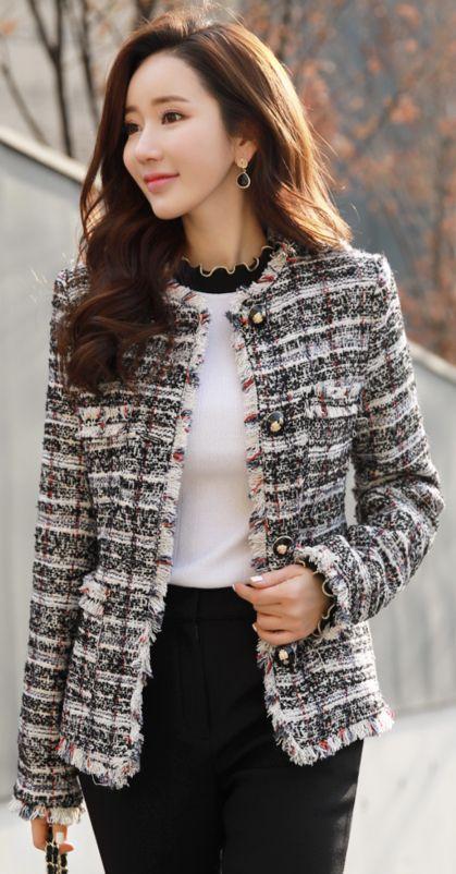 StyleOnme_Classic Tweed Wool Blend Jacket #tweed #classy #wool #jacket #koreanfashion #kstyle #kfashion #seoul #wintertrend