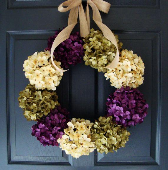 Hydrangea Wreaths SPRING WREATHS Entryway by HomeHearthGarden