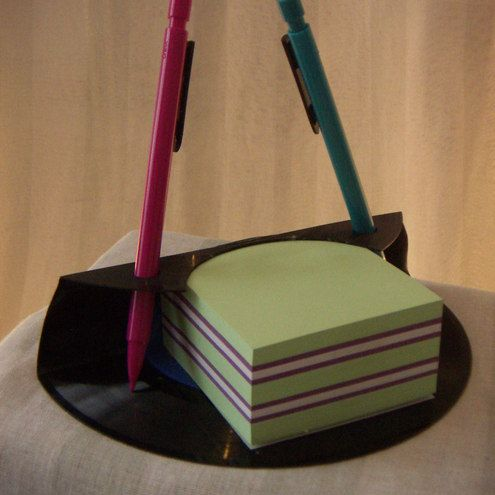 pencil and sticky note holder made from vinyl record