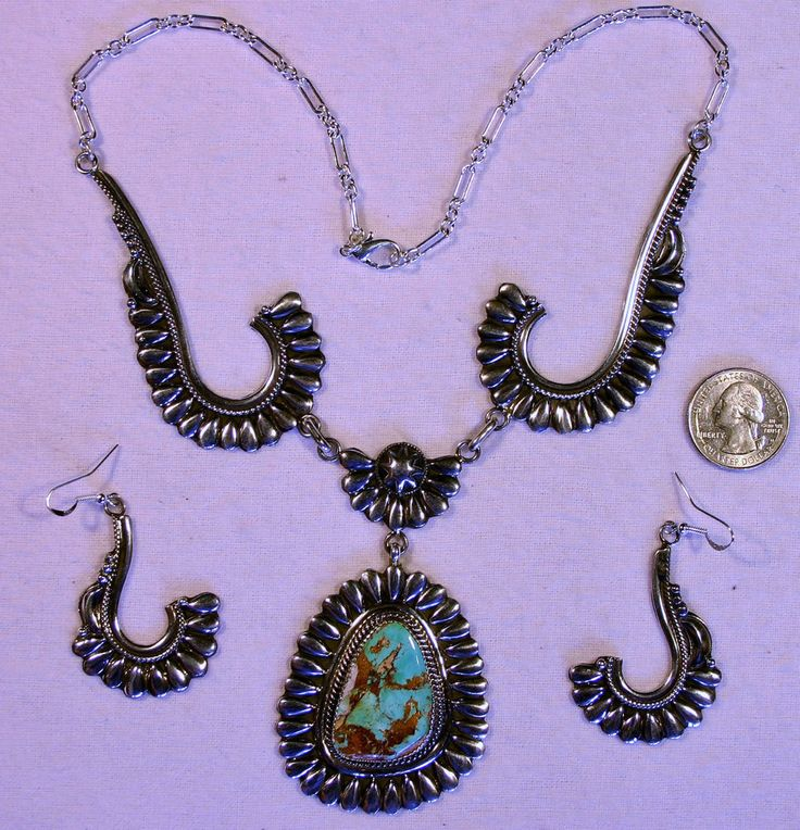 Handmade Navajo Native American Indian necklace and earrings set by Navajo artist GERALDINE JAMES. Squash Blossom Necklace featuring beyond gorgeous TURQUOISE from the Kingman group of mines in Arizona. | eBay!