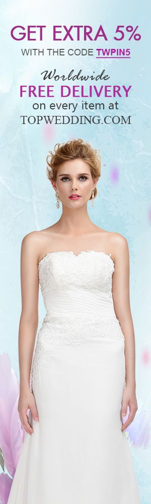 Extra 5% #off with the code TWPIN5 at #TopWedding, #FreeShipping on every item!
