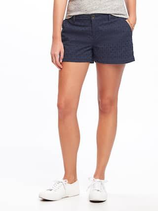 "Old Navy 3.5"" Mid-Rise Everday Eyelet Shorts $27 :: Button-closure and zip fly. Flat front. Slant pockets in front; decorative welt faux-pockets in back. Soft, lightweight cotton poplin with eyelet accents. Fully lined."