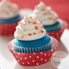 Firecracker #Cupcakes from Pillsbury® BakingDesserts, Blue Cupcakes, 4Thofjuly Frostings, Recipe, White Frostings, July 4Th, Firecracker Cupcakes, Cupcakes 4Thofjuly, Cupcakes Rosa-Choqu