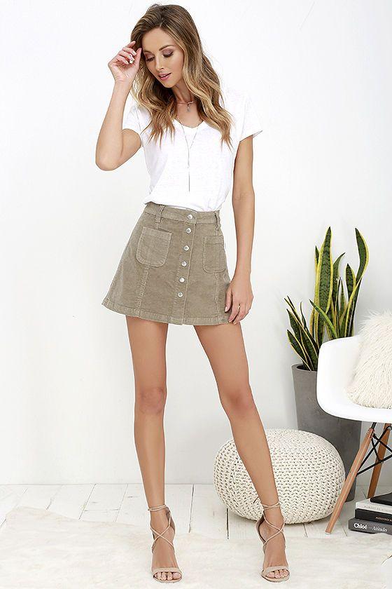 Rhythm Mauritius Taupe Corduroy Mini Skirt 7