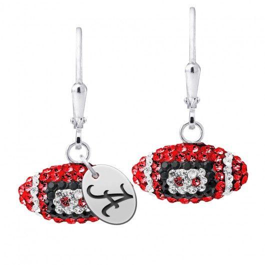 Alabama Crimson Tide Crystal Football Earrings