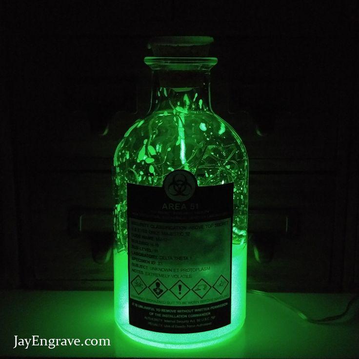 AREA 51 TOP SECRET Majestic 12 Glow In The Dark Biochemical Genetics Lab Alien Specimen led bottle lamp Light   Upcycled Bottle Lamps   JayEngrave
