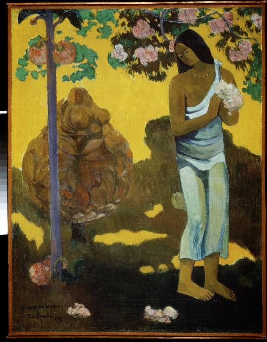 """""""Le mois de Maria (Te avae no Maria)"""" (The Month of Mary) Peinture de Paul Gauguin (1848-1903), 1899. Huile sur toile. Postimpresionnisme. Dim : 96x74,5 cm Musee de l'Ermitage de Saint Petersbourg.©FineArtImages/Leemage"""