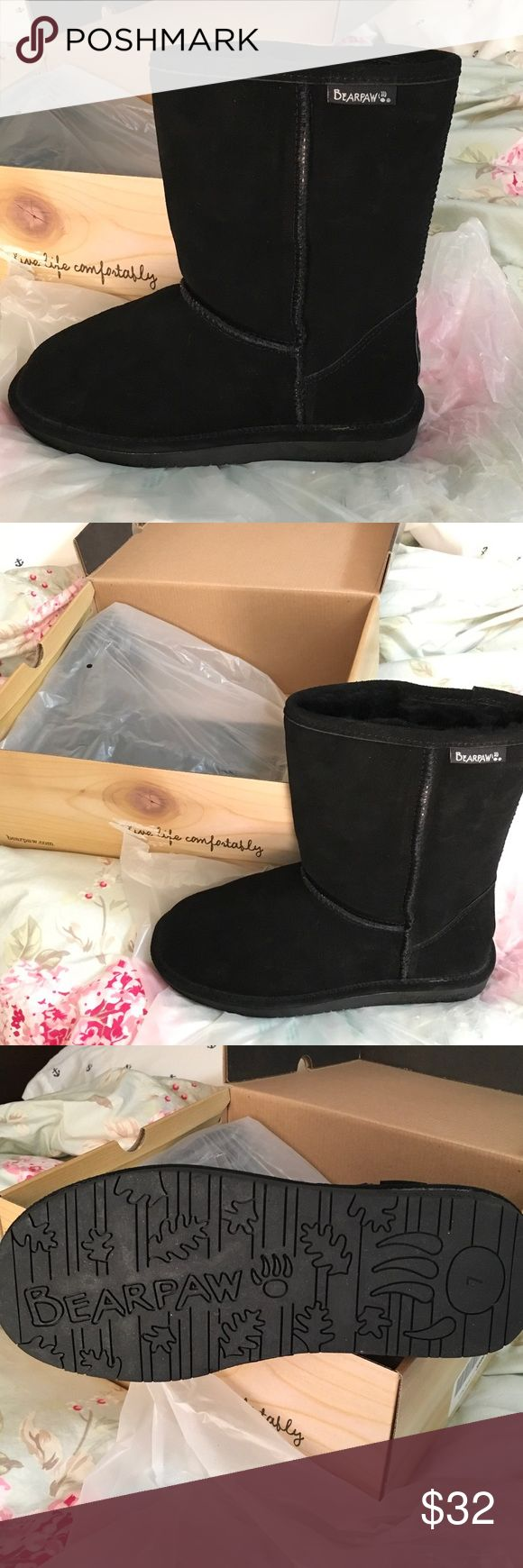 Bearpaw Emma Short Boots Bearpaw Emma Short Black Boots.  In original box never worn. Size 7. BearPaw Shoes Ankle Boots & Booties