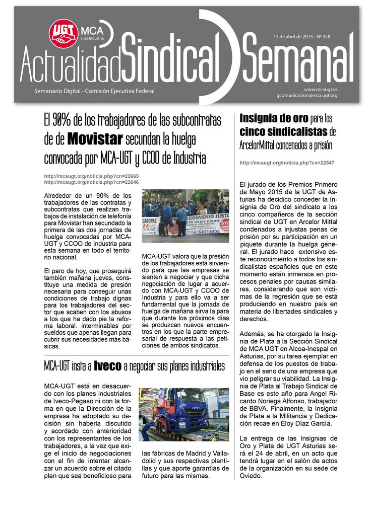 Ha salido Actualidad Sindical Semanal 328 http://mcaugt.org/documentos/0/doc14052.pdf #HuelgaMovistar