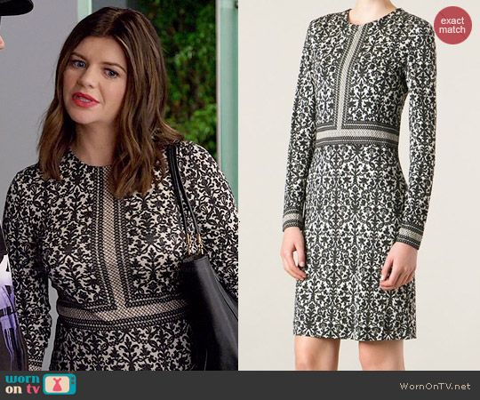 Annie's black and white printed dress with 3/4 sleeves on Marry Me.  Outfit Details: http://wornontv.net/45800/ #MarryMe