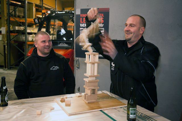 We opened up the concept by building a wooden brick tower.