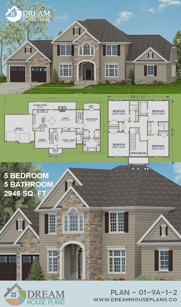 Dream House Plans Affordable Yet Luxury Southern 5 Bedroom 2946 Sq Ft House Plan With Basement Dream House Plans Colonial House Plans Basement House Plans