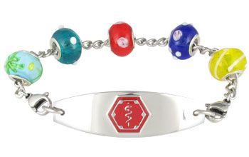 Charm Bead Shimmer Medical ID Bracelet full size
