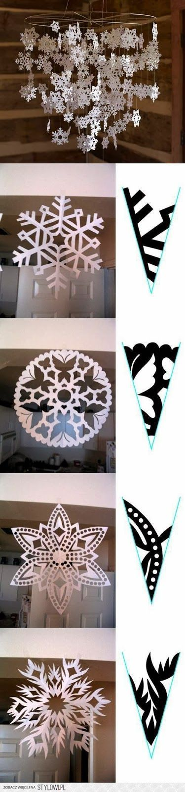 Ideas for The Enchanted Christmas - 271 images DIY, decoration and ornaments!Snowflake chandelier.