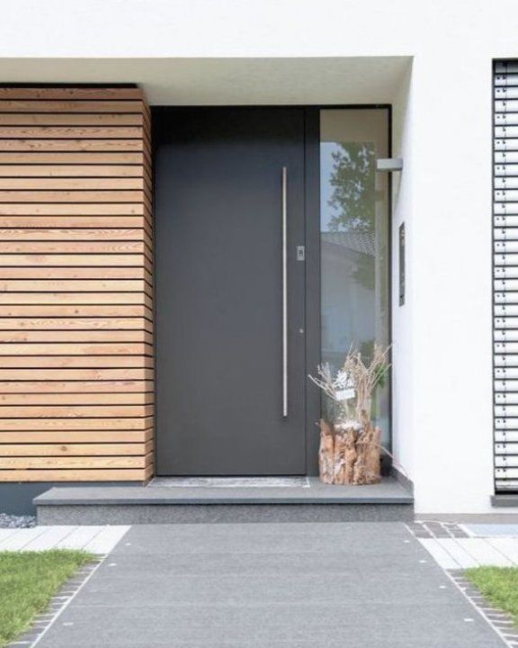 25 Modern Front Door With Wood Accents Home Design And Interior Vasedecor Babyroom Babyroomdecor Girl In 2020 Modern Entrance Door Front Door Design Facade House