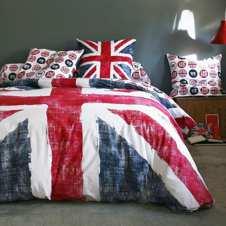 Parure de lit que j'ai, j'ai les couleurs du drapeaux anglais et les contrastes.