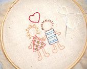 Hand Embroidery Pattern - Wedding couple with Heart
